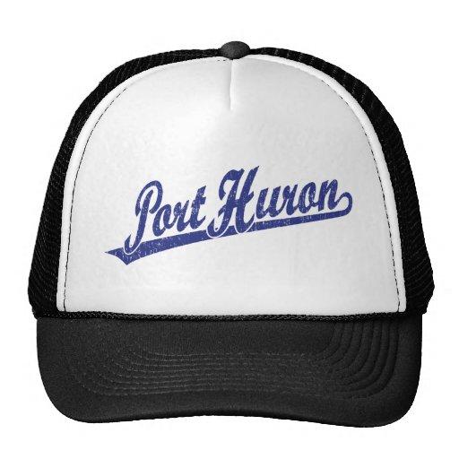 Port Huron script logo in blue distressed Mesh Hat