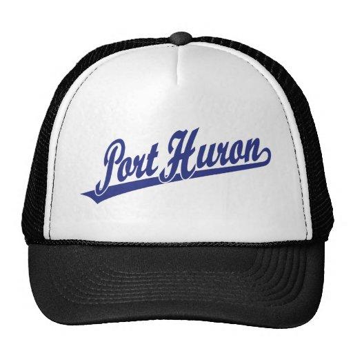 Port Huron script logo in blue Mesh Hat
