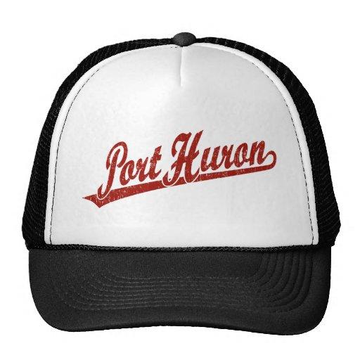 Port Huron script logo in red distressed Trucker Hat