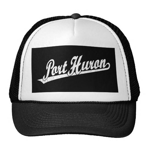 Port Huron script logo in white distressed Trucker Hats