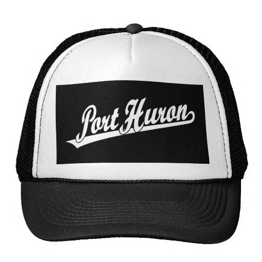 Port Huron script logo in white Trucker Hats