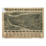 Port Jervis New York 1920 Antique Panoramic Map Poster