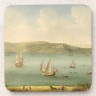 Port Mahon, Minorca, 1730's (oil on canvas) Coaster