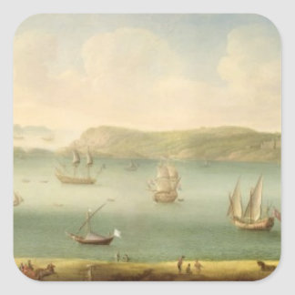 Port Mahon, Minorca, 1730's (oil on canvas) Square Sticker
