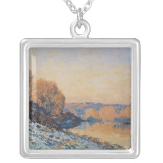 Port-Marly, White Frost, 1872 Silver Plated Necklace