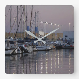 Port of Altea at dusk, Spain Square Wall Clock