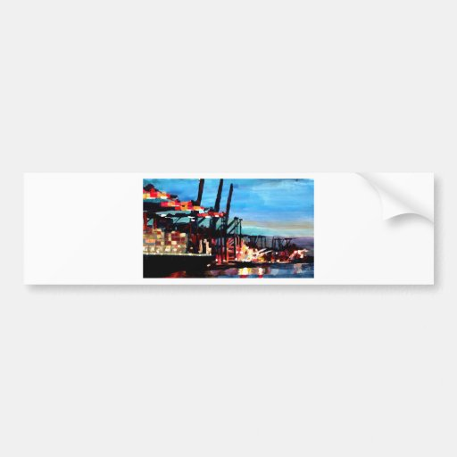Port Of Hamburg With Container Ships Bumper Sticker