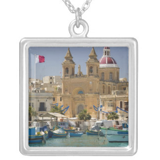 Port of Marsaxlokk on the Mediterranean Island Silver Plated Necklace