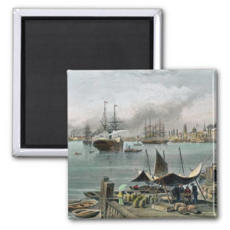 Port of New Orleans, engraved by D.G. Thompson Square Magnet