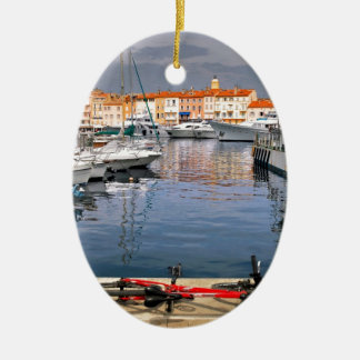 Port of Saint-Tropez in France Ceramic Oval Decoration