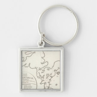 Port of San Francisco Silver-Colored Square Key Ring