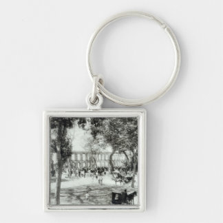 Port of Spain, Trinidad, 1891 Silver-Colored Square Key Ring