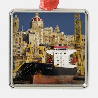 Port of Valletta. Silver-Colored Square Decoration