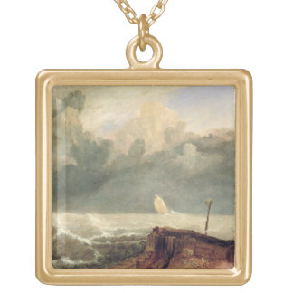 Port Ruysdael (oil on canvas) Square Pendant Necklace