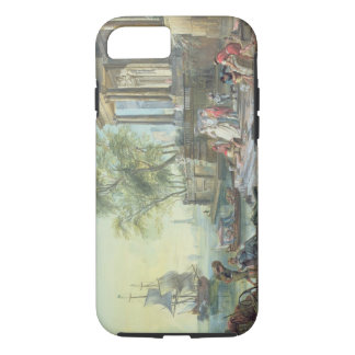 Port Scene with Setting Sun (oil on canvas) iPhone 8/7 Case