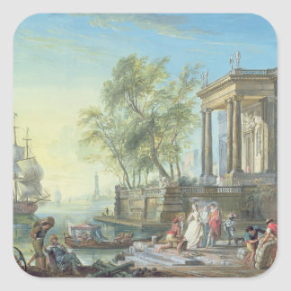 Port Scene with Setting Sun (oil on canvas) Square Sticker