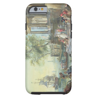 Port Scene with Setting Sun (oil on canvas) Tough iPhone 6 Case