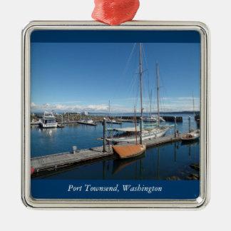 Port Townsend Washington Ocean Boat View Silver-Colored Square Decoration