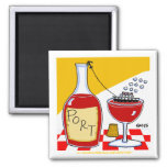 Port Wine Tasting Party Favour Cartoon Funny Square Magnet