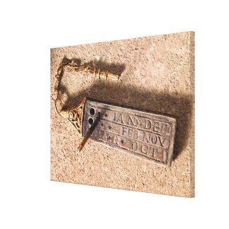 Portable sundial, silver and gold, 10th century (d canvas print