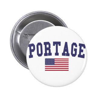 Portage IN US Flag 6 Cm Round Badge