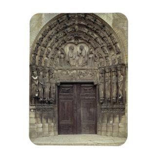 Portal and surrounding sculptures with biblical fi rectangular photo magnet