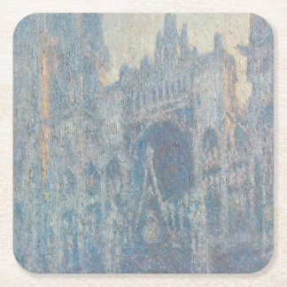 Portal of Rouen Cathedral Morning Light by Monet Square Paper Coaster