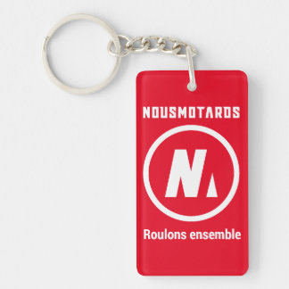 "Porte-clés Nousmotards ""Let us roll Together"" Red Single-Sided Rectangular Acrylic Key Ring"