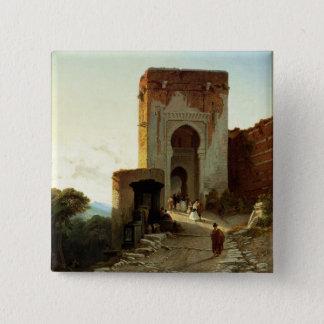 Porte de Justice, Alhambra, Granada (oil on canvas 15 Cm Square Badge