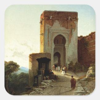 Porte de Justice, Alhambra, Granada (oil on canvas Square Sticker