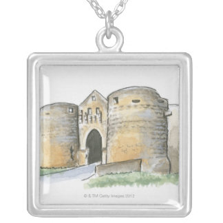 Porte des Tours, France Silver Plated Necklace