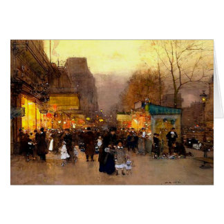 Porte Saint Martin at Christmas Time in Paris Greeting Card