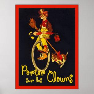 Porter Sur Les Clowns Vintage Circus Poster