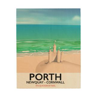 Porth Newquay Sandcastle travel print