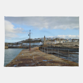 Porthleven Cornwall England in Winter Tea Towel