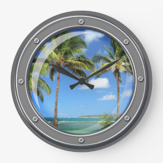 Porthole to Paradise Wall Clock