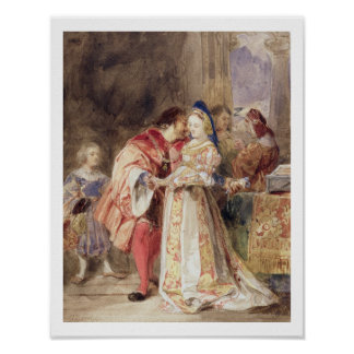 Portia and Bassanio c 1826 w c brown ink bodyc Poster