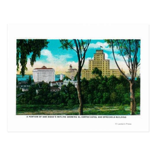 Portion of San Diego's Skyline showing El Corte Postcard