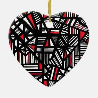Portis Abstract Expression Red White Black Christmas Ornament