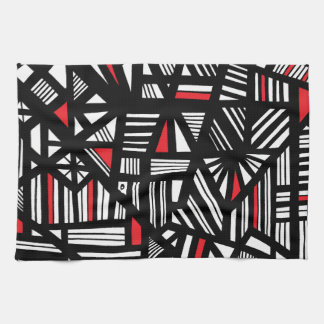 Portis Abstract Expression Red White Black Hand Towel