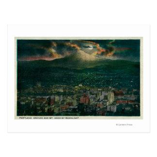 Portland and Mt. Hood by Moonlight Postcard