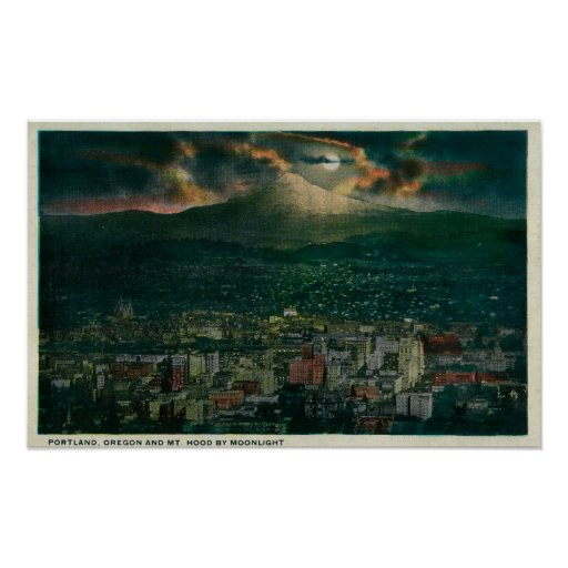 Portland and Mt. Hood by Moonlight Print