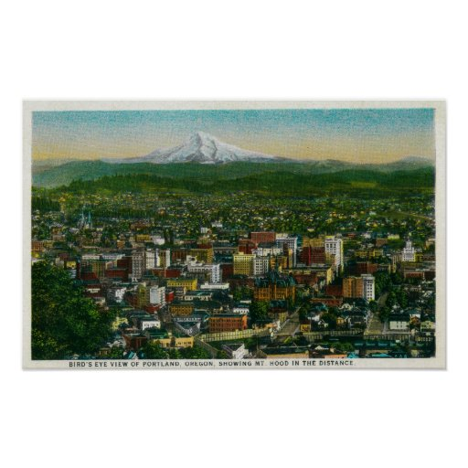 Portland and Mt. Hood in the distance Posters