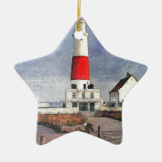 Portland Bill Lighthouse Ceramic Star Decoration