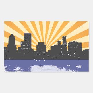 Portland cityscape pop art rectangular sticker
