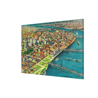 Portland from Air showing Bridges and Canvas Prints