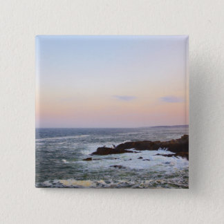 Portland Head and view to Atlantic Ocean 15 Cm Square Badge