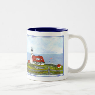 "Portland Head Light ""A View from the Hill"" #6 Two-Tone Coffee Mug"