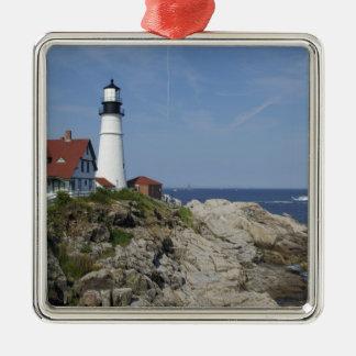 Portland Head Light, Cape Elizabeth,Maine, Silver-Colored Square Decoration