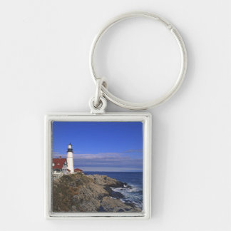 Portland Head Light Lighthouse Maine Silver-Colored Square Key Ring